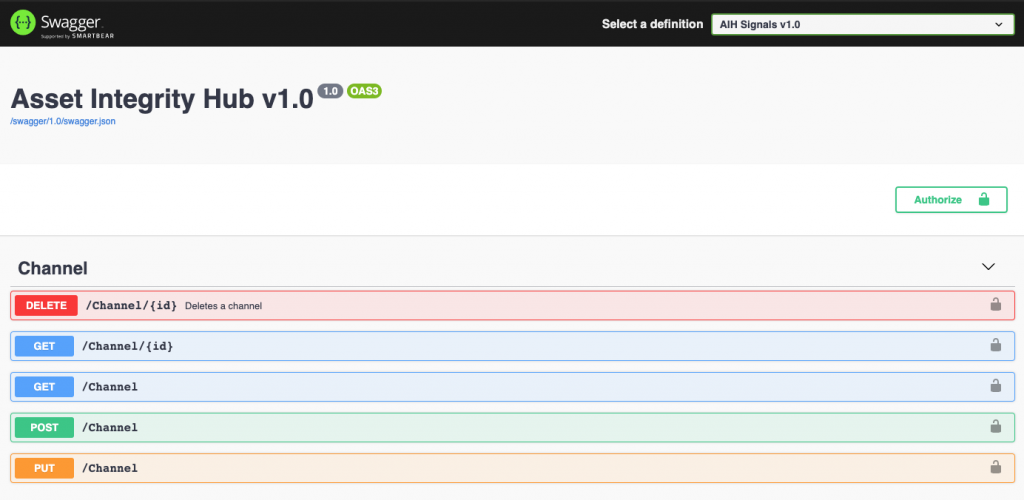 Screenshot of configuring channels via swagger UI