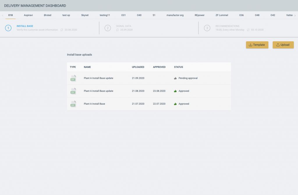 Screenshot of delivery management dashboard